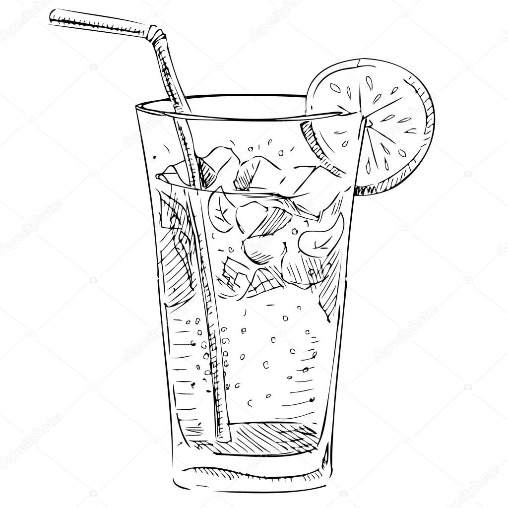 Ice Cubes Drawing Hand Drawing Sketch Vector