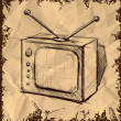 Retro tv with antenna isolated on vintage background. Hand drawing sketch vector illustration — Stock Vector #14098336