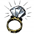 Ring with a big sparling diamond. Sketch vector illustration — Stock Vector