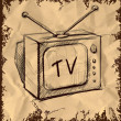 Retro tv with antenna isolated on vintage background. Hand drawing sketch vector illustration — Stock Vector #14098403