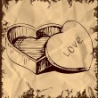 Royalty-Free Stock Imagen vectorial: Heart shaped box . Hand drawing sketch vector illustration