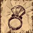 Ring with a big sparling diamond isolated on vintage background. Sketch vector illustration — Stok Vektör