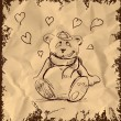 In love cute teddy bear sketch vector illustration — Stock Vector