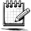 Pencil and notepad icon. Vector illustration — Imagen vectorial