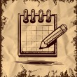 Pencil and notepad icon. Vector illustration — Stockvectorbeeld