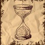 Sand glass clock. Hand drawing cartoon sketch vector illustration — Stock Vector