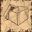 Open box icon isolated on vintage background. Hand drawing sketch vector illustration — 图库矢量图片