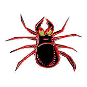 Poisonous spider isolated on white background. Hand drawing sketch vector illustration — Stock Vector