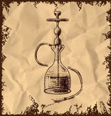 Hookah icon isolated on vintage background. Hand drawing sketch vector illustration — Stock Vector