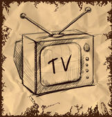 Retro tv with antenna isolated on vintage background. Hand drawing sketch vector illustration — Stock Vector