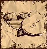 Heart shaped box . Hand drawing sketch vector illustration — Stock Vector