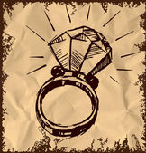 Ring with a big sparling diamond isolated on vintage background. Sketch vector illustration — Stock Vector