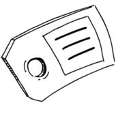 Badge or label with price sign. Hand drawing cartoon sketch vector illustration — 图库矢量图片
