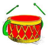 музыка барабан. красочные руки рисунок мультфильм эскиз иллюстрации в стиле детские каракули — Cтоковый вектор