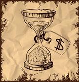 Orologio vetro sabbia ed etichetta con il simbolo di dollaro isolato su sfondo d'epoca. illustrazione vettoriale di schizzo di disegno a mano — Vettoriale Stock