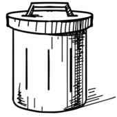 Outdoor trash bin icon. Hand drawing cartoon sketch vector illustration — Stock Vector
