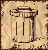 Outdoor trash bin icon isolated on vintage background. Hand drawing sketch vector illustration — Stock Vector