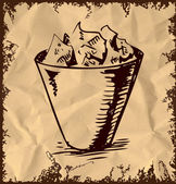 Trash bin icon isolated on vintage background. Hand drawing sketch vector illustration — Stock Vector
