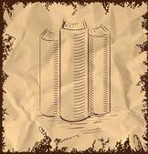 Ícone de livro isolado no fundo vintage. mão desenho desenho ilustração em vetor — Vetor de Stock