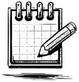 Icono de bloc de notas y lápiz. ilustración vectorial — Vector de stock