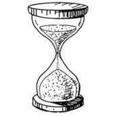 часы песка стекла. рука рисунок мультфильм эскиз векторные иллюстрации — Cтоковый вектор