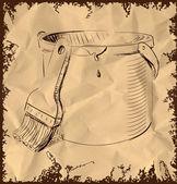 Paint bucket and brush — Vetor de Stock