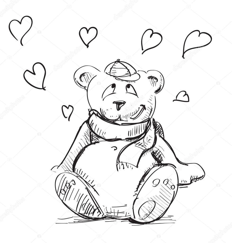 Sevgi sevimli ayıcık sketch vektör çizim stok illüstrasyon