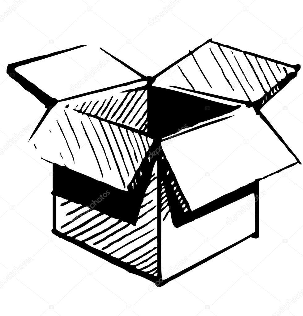 Open Box Icon Isolated On White Background. Hand Drawing