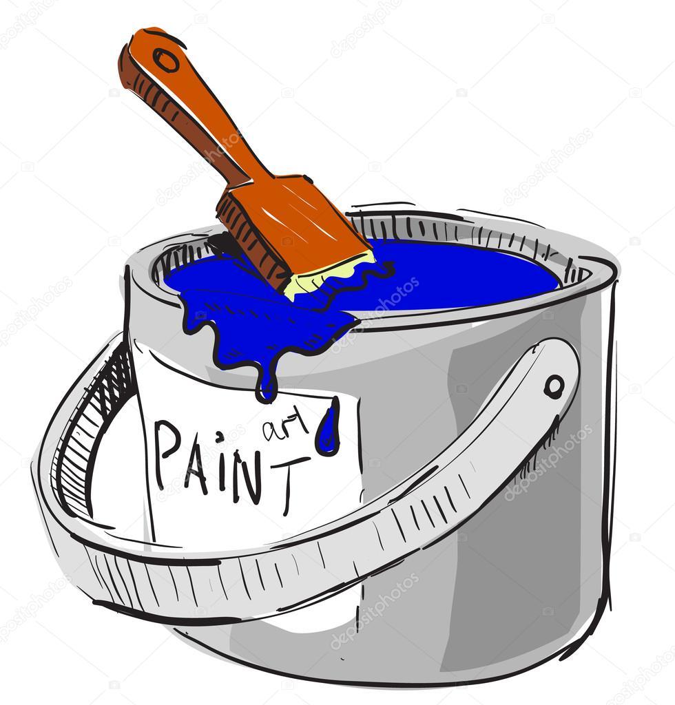 pot de peinture et pinceau dessin color 233 esquisse illustration dans un style