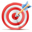 Stock Vector: Red darts target aim and arrow. Successful shoot. No transparency - only gradient.