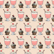 Sweet cupcakes and milkshakes background. Seamless sketch vector pattern — Stock Vector