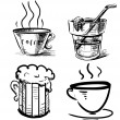Drink icons hand drawing set. Sketch vector illustration — Stock Vector
