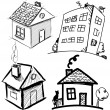 Stock Vector: Collection of apartments. Sketch vector set of houses in doodle style