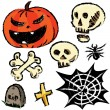 Collection of halloween objects isolated on white background. Hand drawing sketch vector illustration — Stock Vector