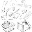 Stok Vektör: Household stuff set. Sketch vector objects isolated on white background