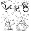 Romantic characters and objects set. Hand drawing sketch vector illustration — Stock Vector