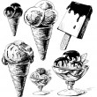 Ice cream collection. Hand drawing sketch vector illustration — Imagens vectoriais em stock