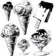 Ice cream collection. Hand drawing sketch vector illustration — Stock Vector