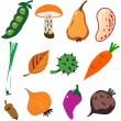 Vegetables doodle cartoon set vector illustration — Stock Vector