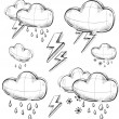Nasty weather icons set.Hand drawing sketch vector symbols isolated on white background — Stock Vector