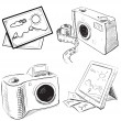 Stok Vektör: Camerand picture icons. Sketch vector objects isolated on white background