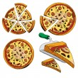 Collection of sliced pizza isolated on white background. Hand drawing sketch vector illustration — Stock Vector
