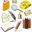 Office stuff set.Reading writing communicating objects. Hand drawing sketch vector collection — Stock Vector