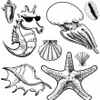 Royalty-Free Stock Vector Image: Sea animals and shells collection icon isolated on vintage background. Hand drawing sketch vector illustration