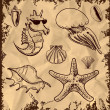 Sea animals and shells collection icon isolated on vintage background. Hand drawing sketch vector illustration — Stock Vector
