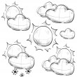 Day weather icons set. Hand drawing sketch vector symbols — 图库矢量图片