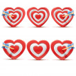 Stock Vector: Collection of aim hearts isolated on white background. Sketch vector illustration