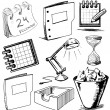 Stock Vector: Office stuff set. Hand drawing sketch vector illustration