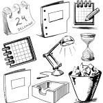 Office stuff set. Hand drawing sketch vector illustration — Stock Vector