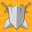 Two crossed swords and shield. Cartoon vector illustration — Stok Vektör